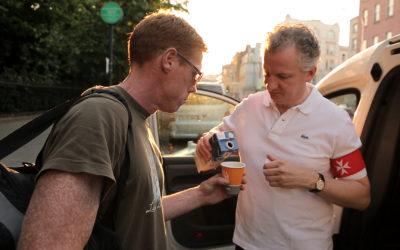 Cameraman filming in Dublin